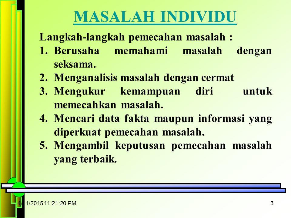 MASALAH INDIVIDU Langkah-langkah pemecahan masalah :