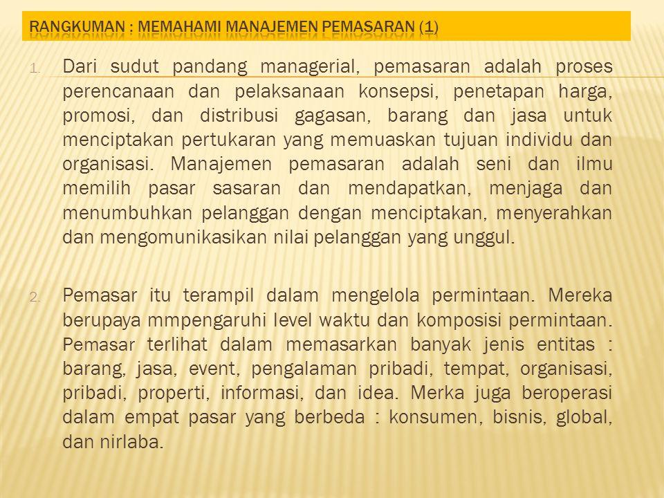 Rangkuman : Memahami Manajemen Pemasaran (1)