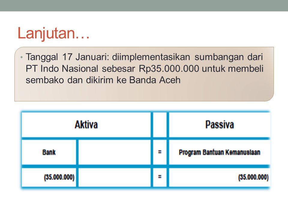 Lanjutan… Tanggal 17 Januari: diimplementasikan sumbangan dari PT Indo Nasional sebesar Rp35.000.000 untuk membeli sembako dan dikirim ke Banda Aceh.