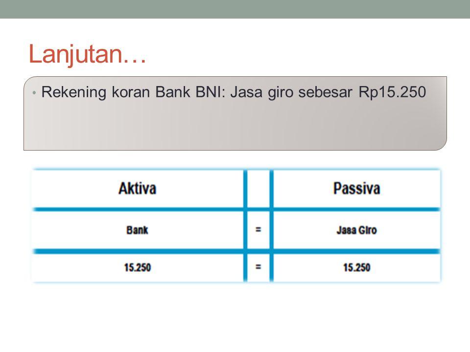 Lanjutan… Rekening koran Bank BNI: Jasa giro sebesar Rp15.250