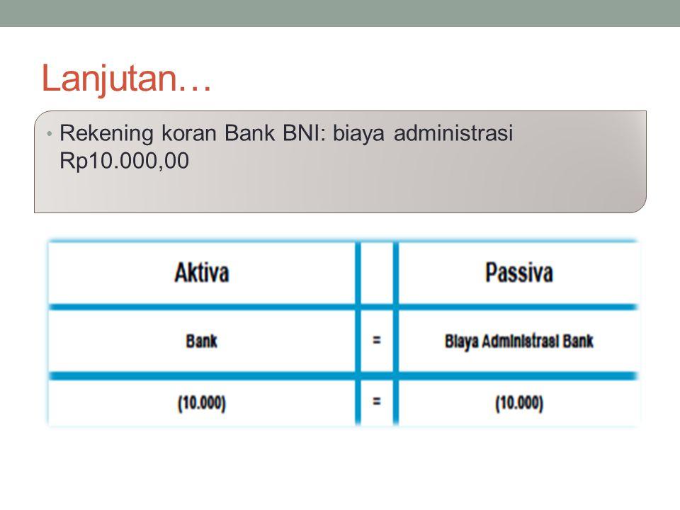 Lanjutan… Rekening koran Bank BNI: biaya administrasi Rp10.000,00