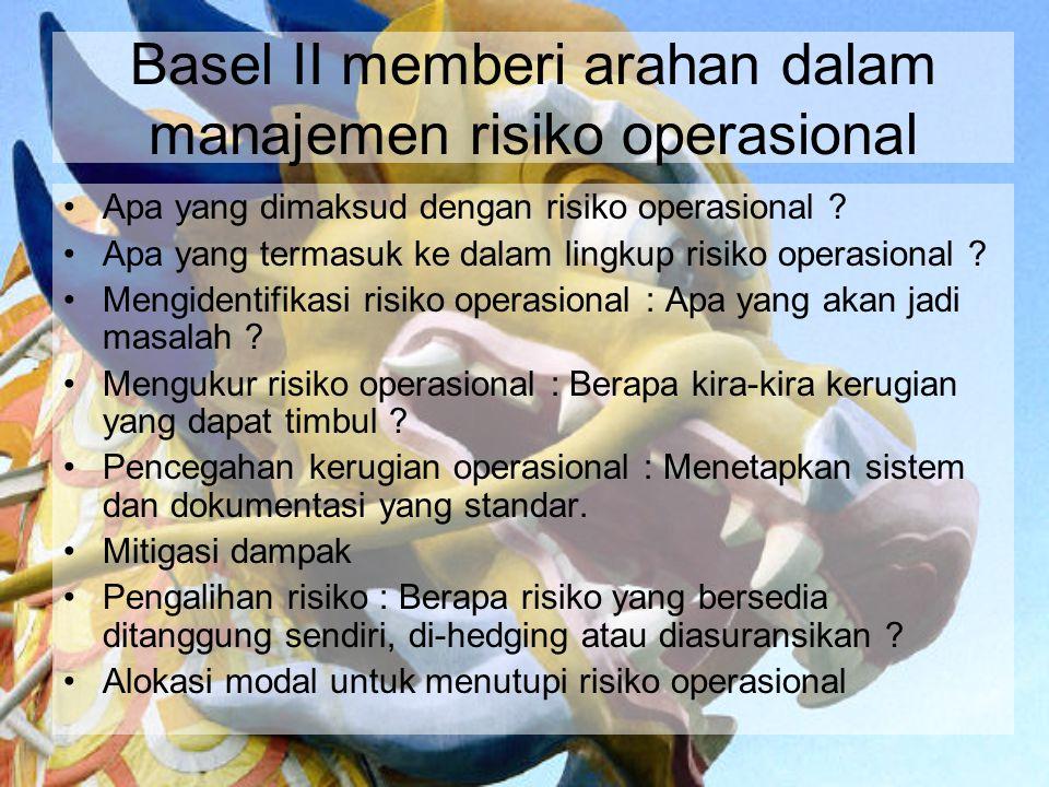 Basel II memberi arahan dalam manajemen risiko operasional