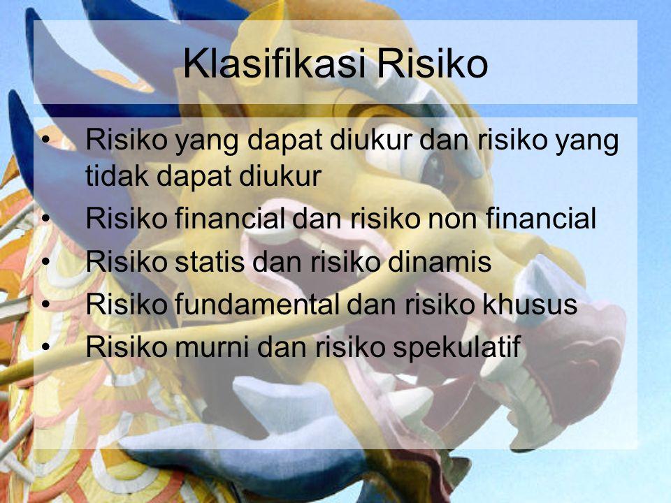Klasifikasi Risiko Risiko yang dapat diukur dan risiko yang tidak dapat diukur. Risiko financial dan risiko non financial.