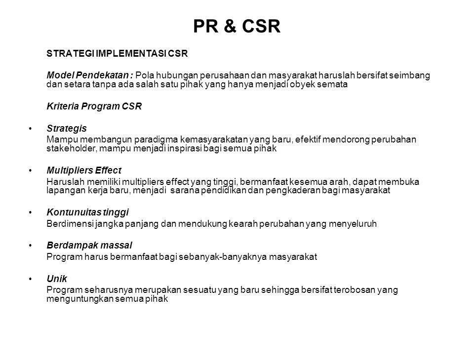 PR & CSR STRATEGI IMPLEMENTASI CSR