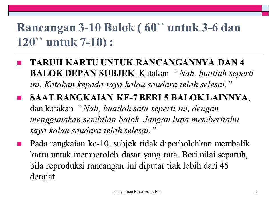 Rancangan 3-10 Balok ( 60`` untuk 3-6 dan 120`` untuk 7-10) :