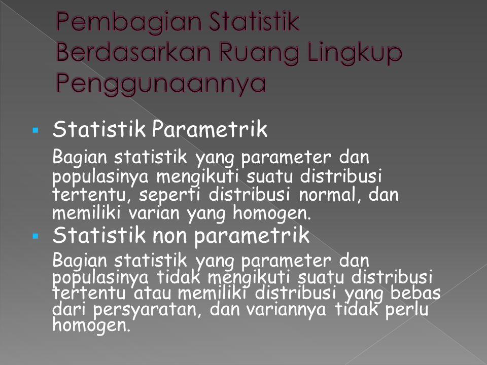 Pembagian Statistik Berdasarkan Ruang Lingkup Penggunaannya