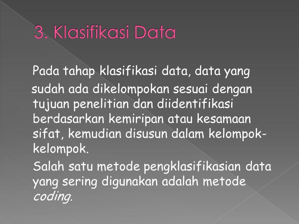 3. Klasifikasi Data Pada tahap klasifikasi data, data yang.
