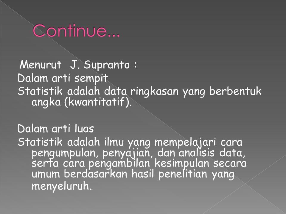 Continue... Menurut J. Supranto : Dalam arti sempit