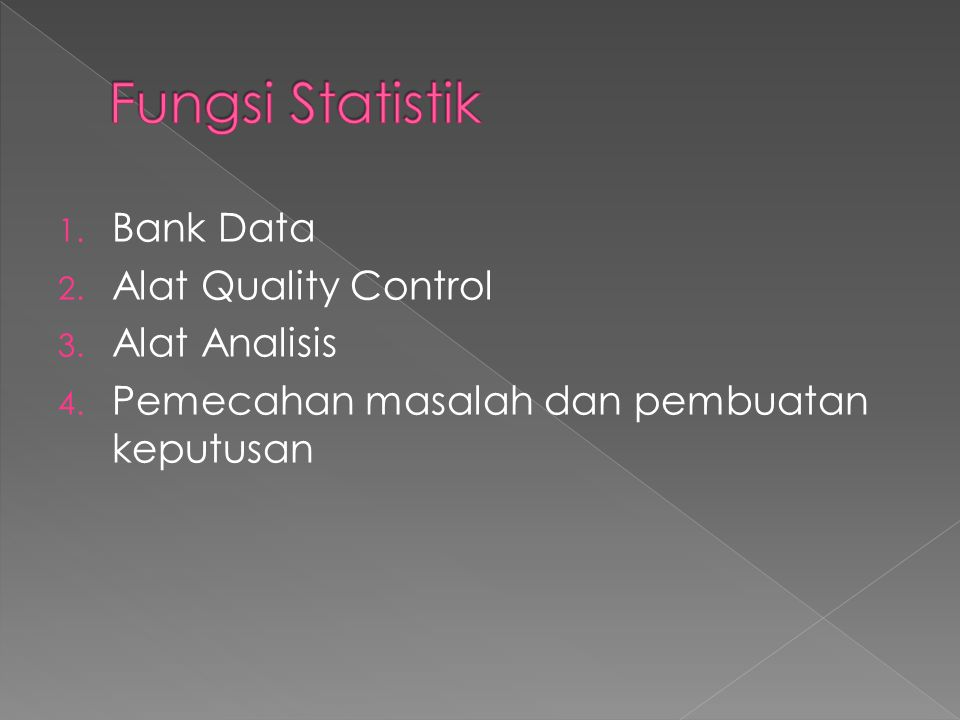 Fungsi Statistik Bank Data Alat Quality Control Alat Analisis
