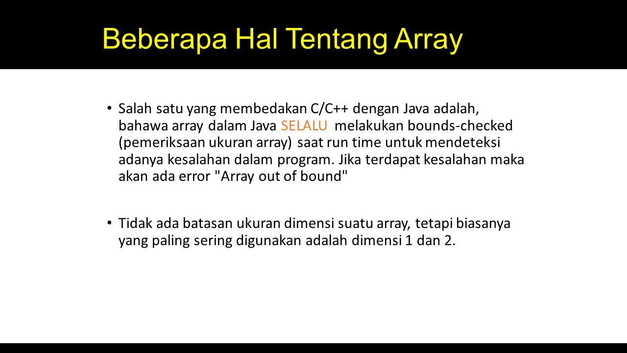 Beberapa Hal Tentang Array