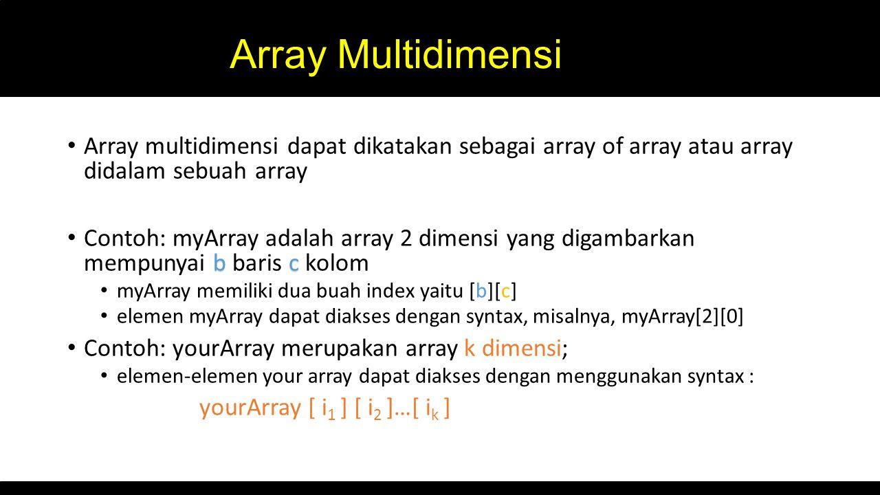 Array Multidimensi Array multidimensi dapat dikatakan sebagai array of array atau array didalam sebuah array.