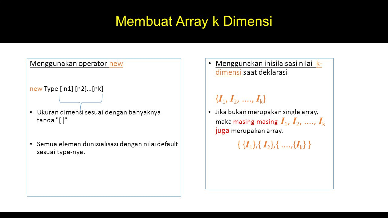 Membuat Array k Dimensi