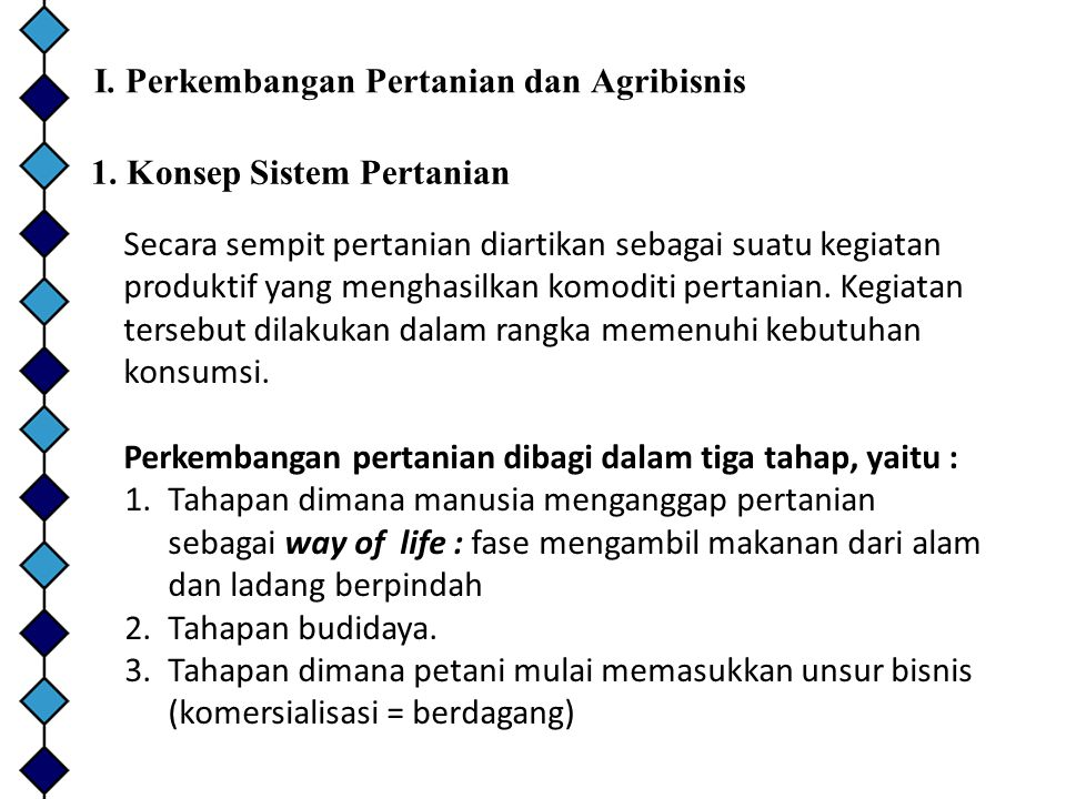 I. Perkembangan Pertanian dan Agribisnis