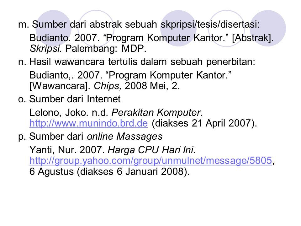 m. Sumber dari abstrak sebuah skpripsi/tesis/disertasi: