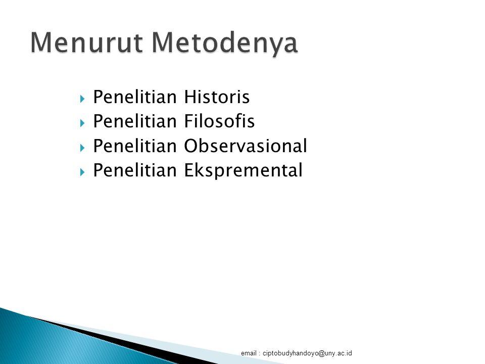 Menurut Metodenya Penelitian Historis Penelitian Filosofis