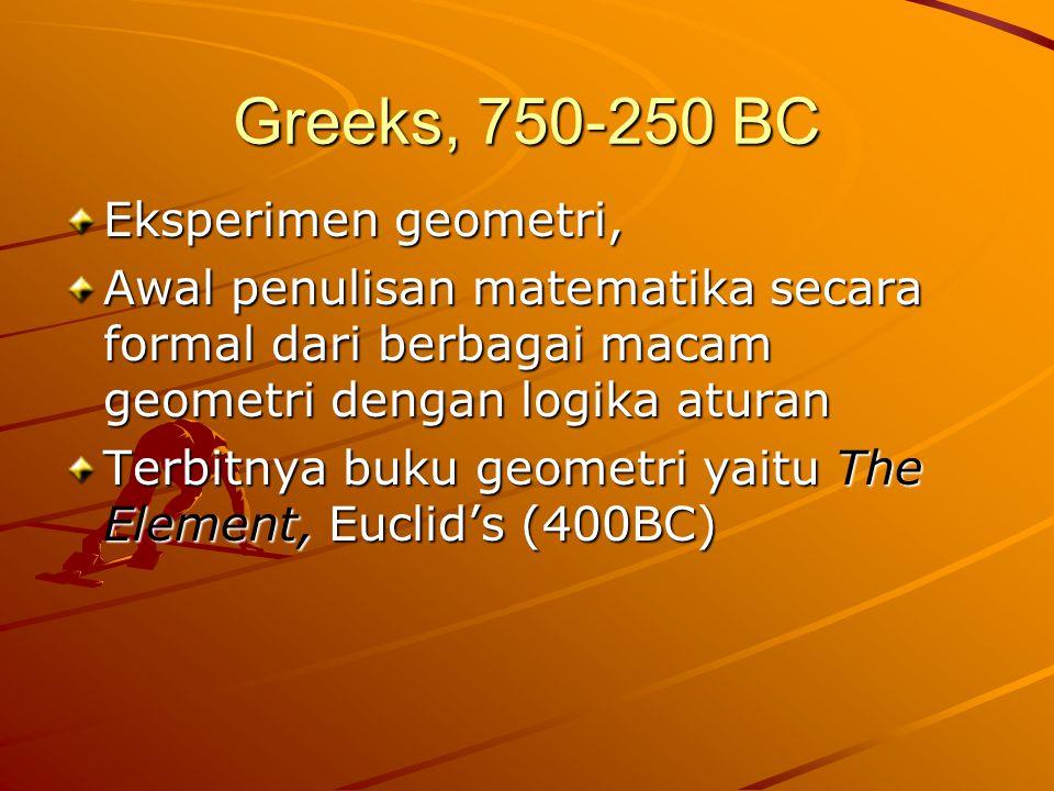 Greeks, 750-250 BC Eksperimen geometri,