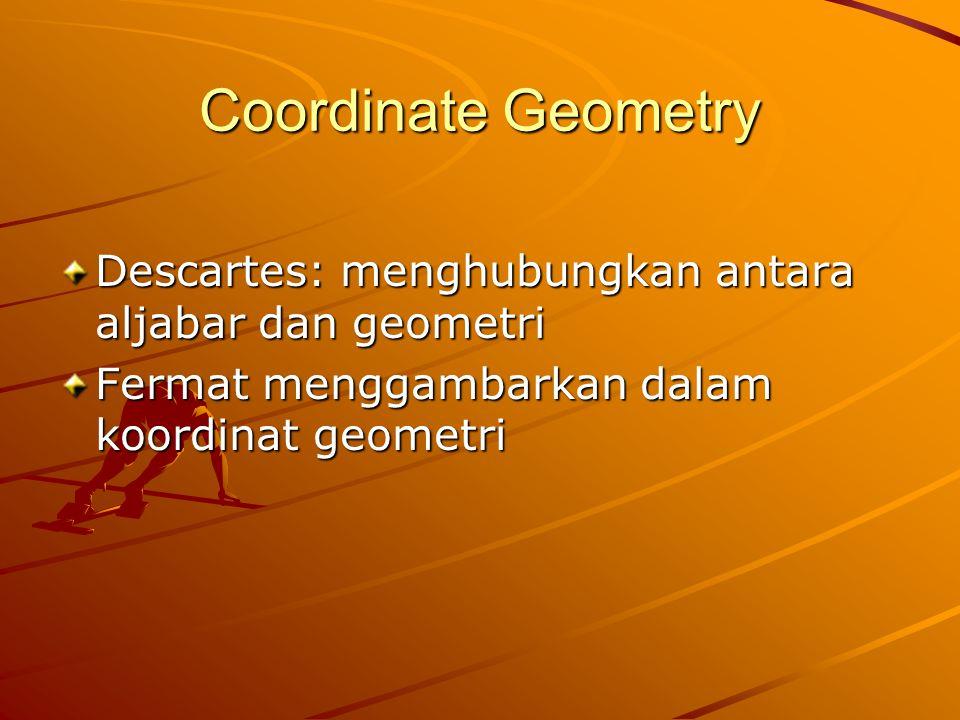 Coordinate Geometry Descartes: menghubungkan antara aljabar dan geometri.