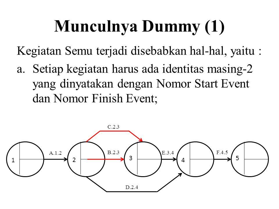 Munculnya Dummy (1) Kegiatan Semu terjadi disebabkan hal-hal, yaitu :