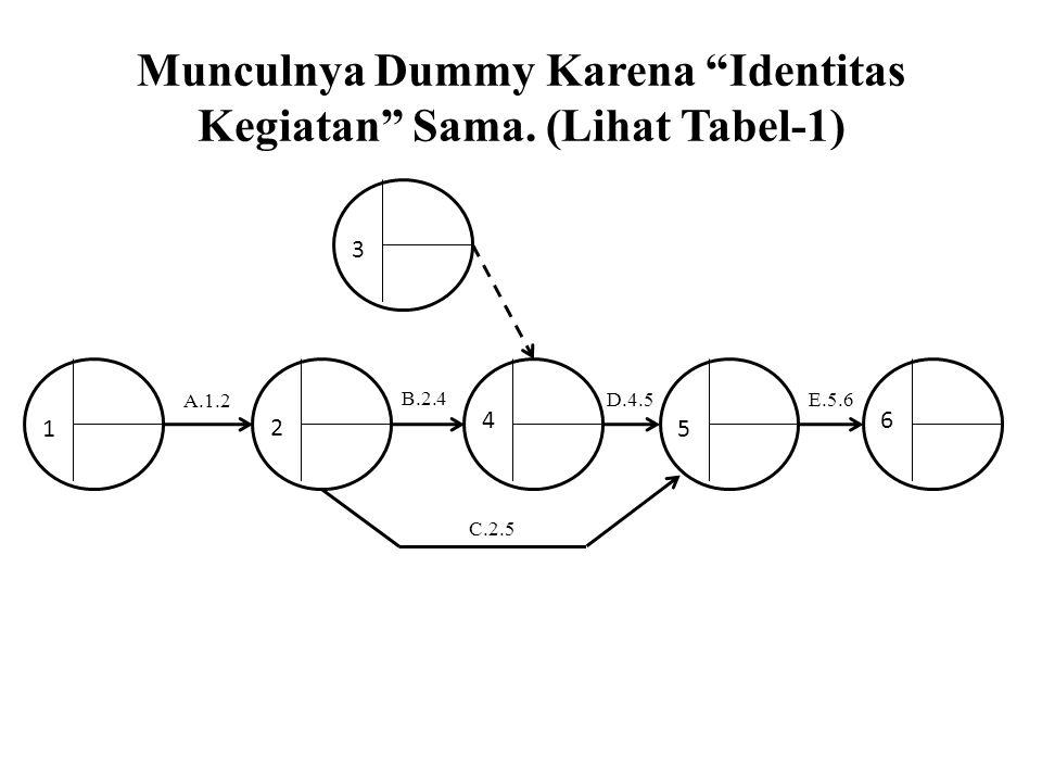 Munculnya Dummy Karena Identitas Kegiatan Sama. (Lihat Tabel-1)