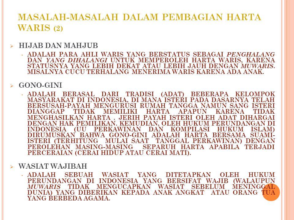 MASALAH-MASALAH DALAM PEMBAGIAN HARTA WARIS (2)