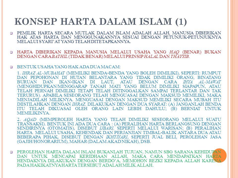 KONSEP HARTA DALAM ISLAM (1)