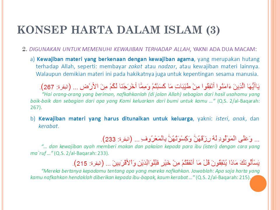 KONSEP HARTA DALAM ISLAM (3)