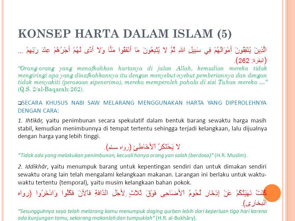 KONSEP HARTA DALAM ISLAM (5)