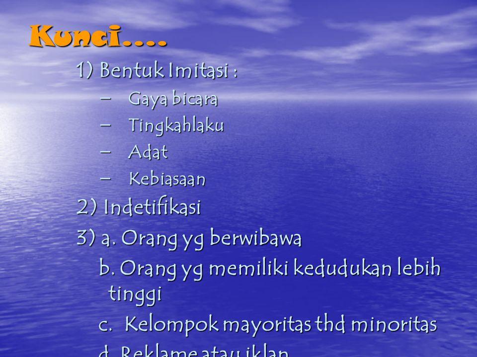 Kunci…. 1) Bentuk Imitasi : 2) Indetifikasi 3) a. Orang yg berwibawa
