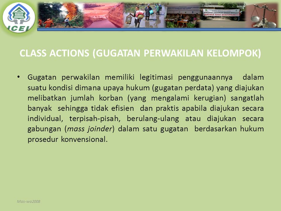CLASS ACTIONS (GUGATAN PERWAKILAN KELOMPOK)