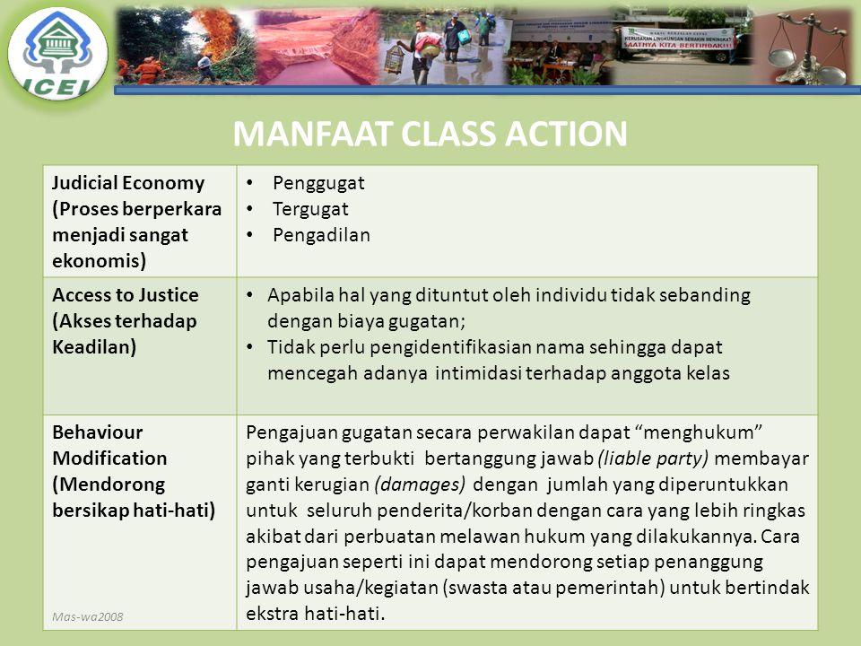 MANFAAT CLASS ACTION Judicial Economy (Proses berperkara menjadi sangat ekonomis) Penggugat. Tergugat.