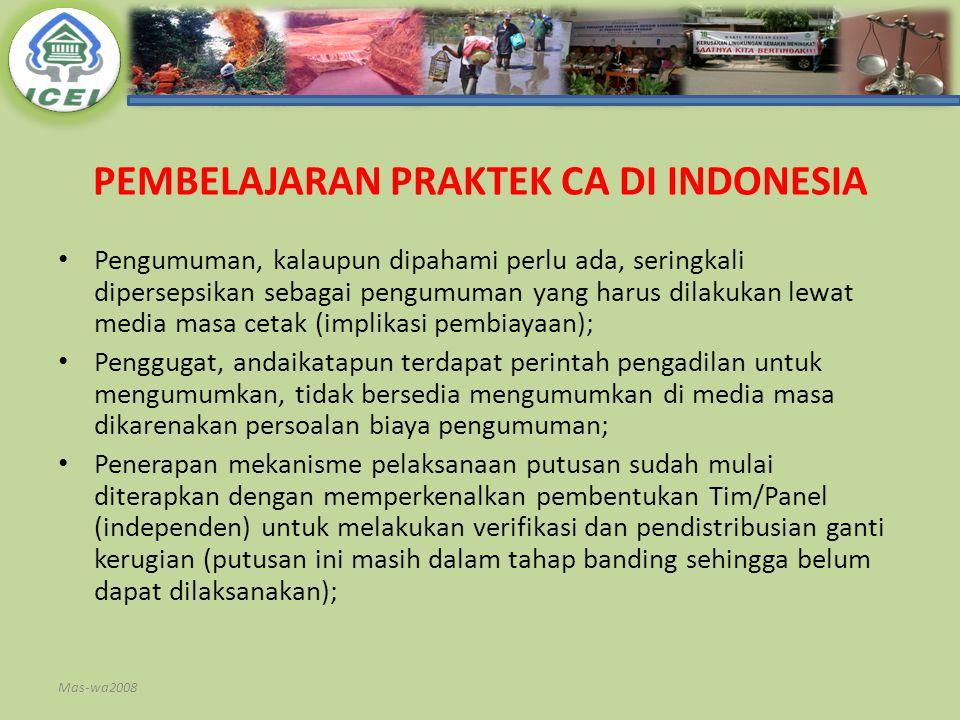PEMBELAJARAN PRAKTEK CA DI INDONESIA