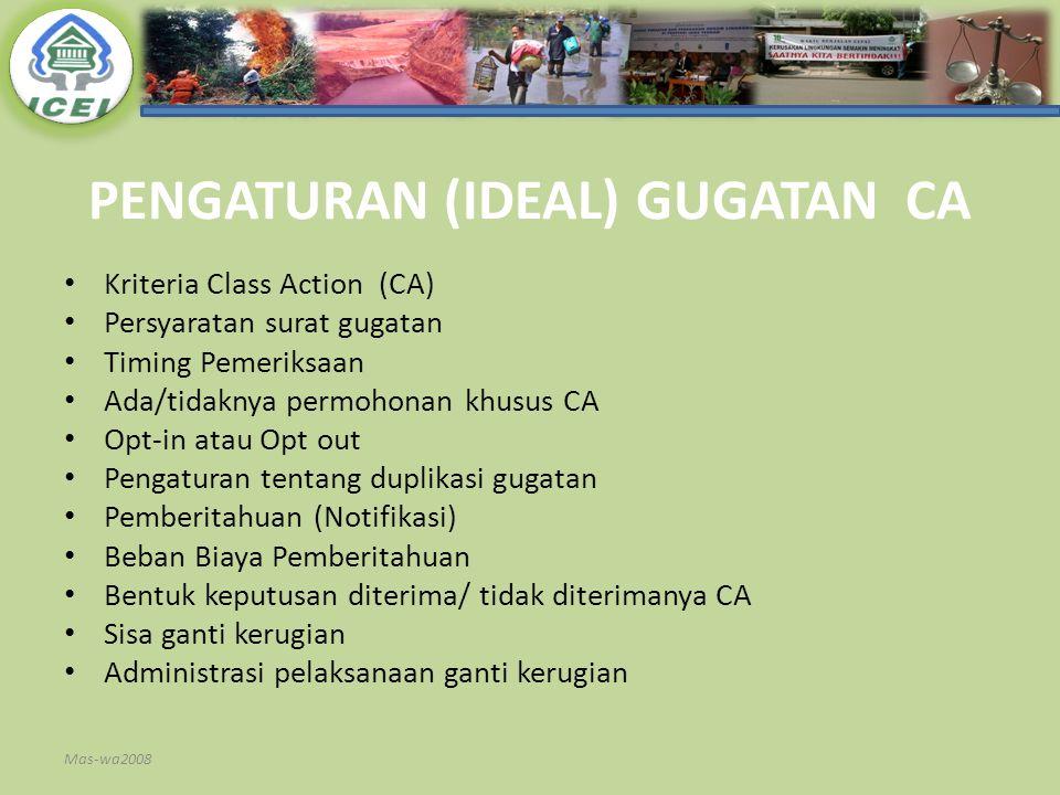 PENGATURAN (IDEAL) GUGATAN CA