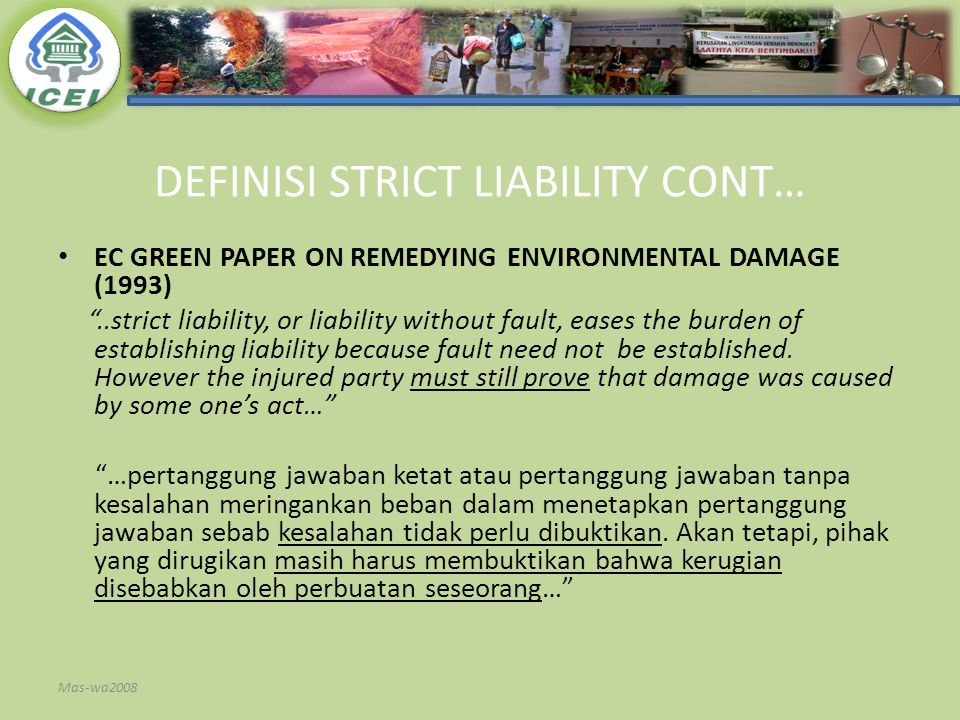 DEFINISI STRICT LIABILITY CONT…