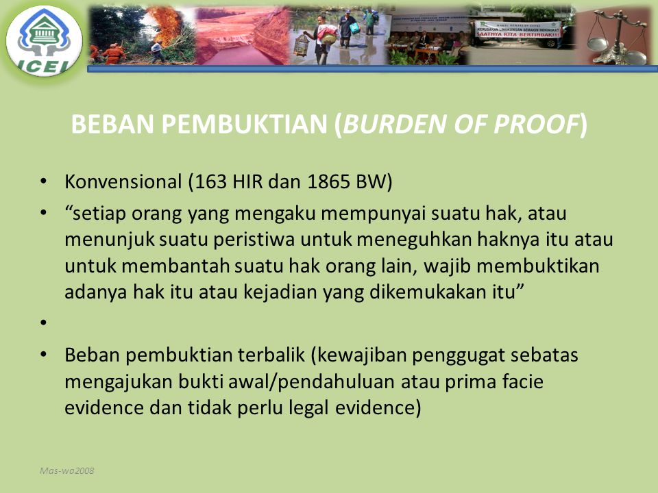 BEBAN PEMBUKTIAN (BURDEN OF PROOF)