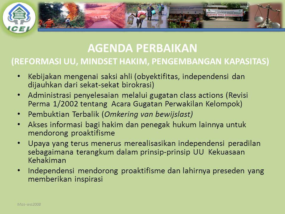 AGENDA PERBAIKAN (REFORMASI UU, MINDSET HAKIM, PENGEMBANGAN KAPASITAS)