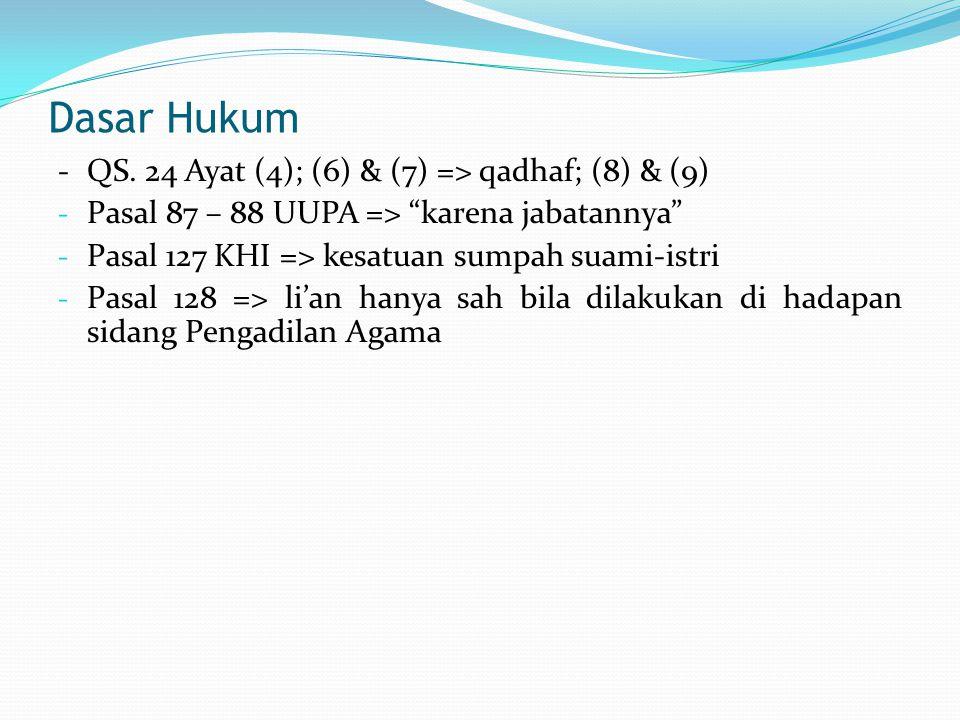 Dasar Hukum - QS. 24 Ayat (4); (6) & (7) => qadhaf; (8) & (9)