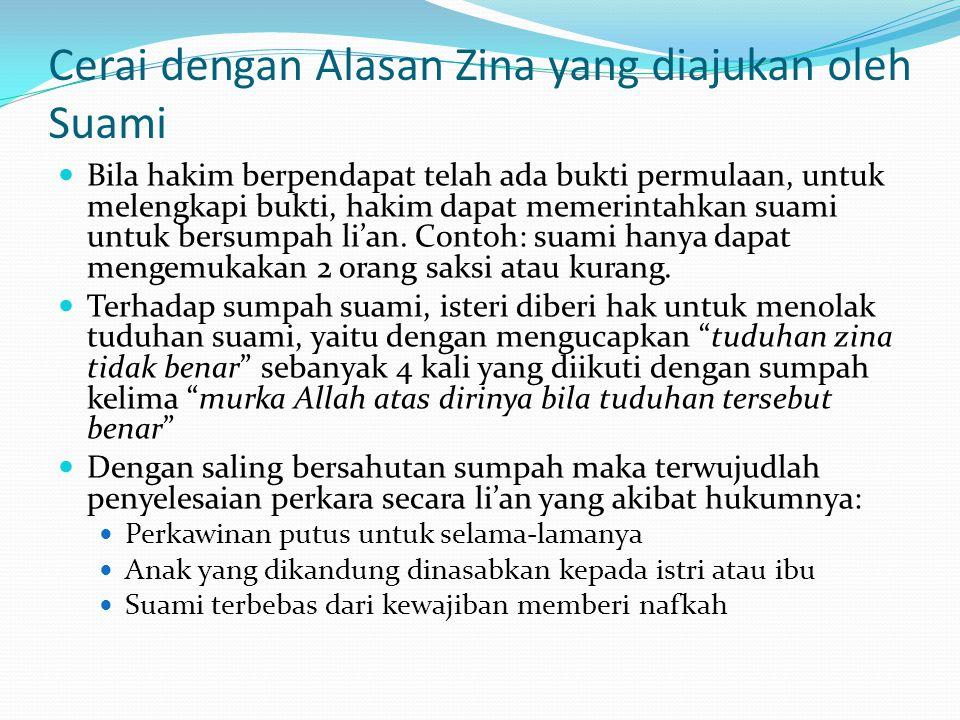 Cerai dengan Alasan Zina yang diajukan oleh Suami