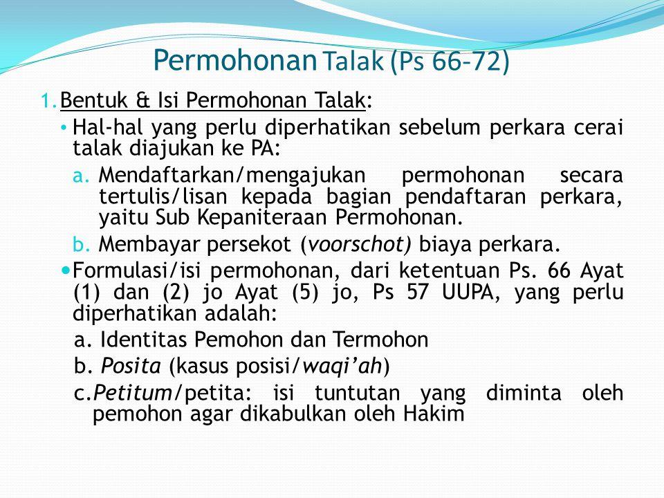 Permohonan Talak (Ps 66-72)