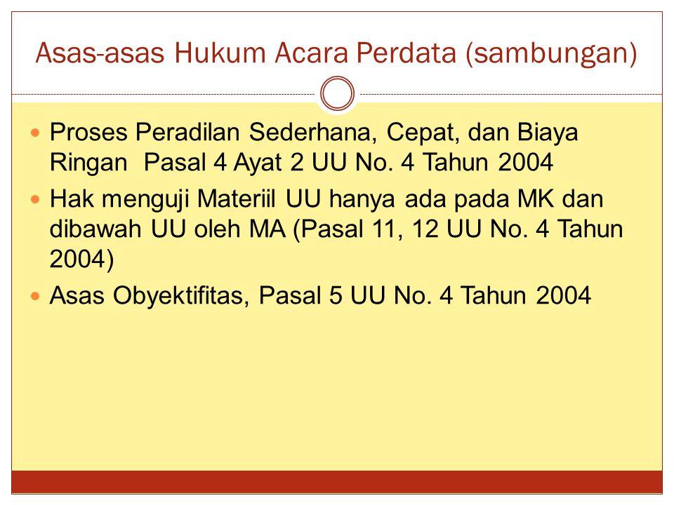 Asas-asas Hukum Acara Perdata (sambungan)