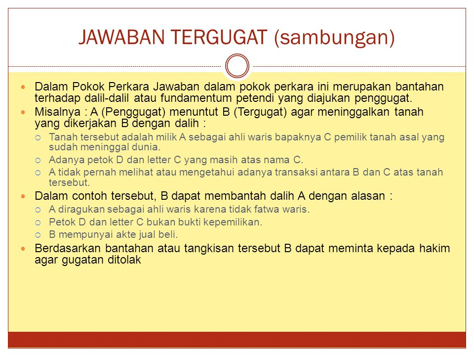 JAWABAN TERGUGAT (sambungan)