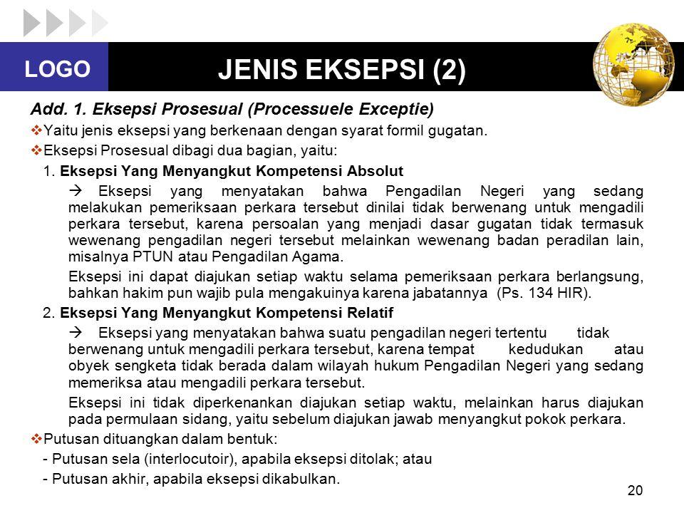 JENIS EKSEPSI (2) Add. 1. Eksepsi Prosesual (Processuele Exceptie)