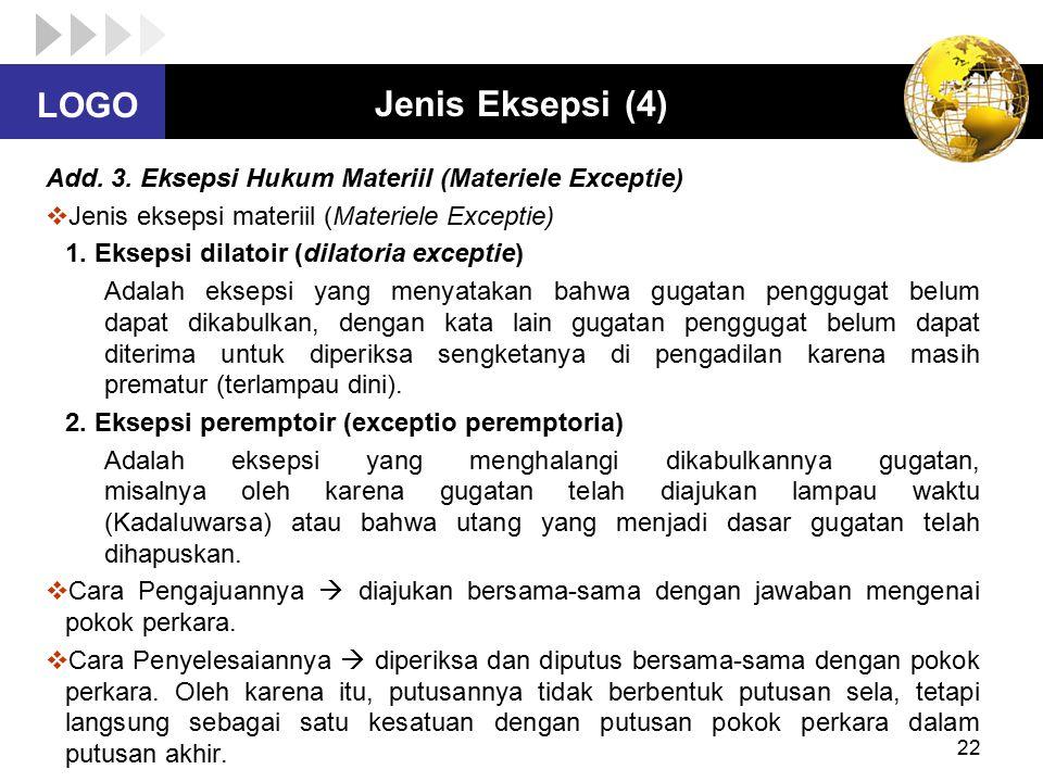 Jenis Eksepsi (4) Add. 3. Eksepsi Hukum Materiil (Materiele Exceptie)