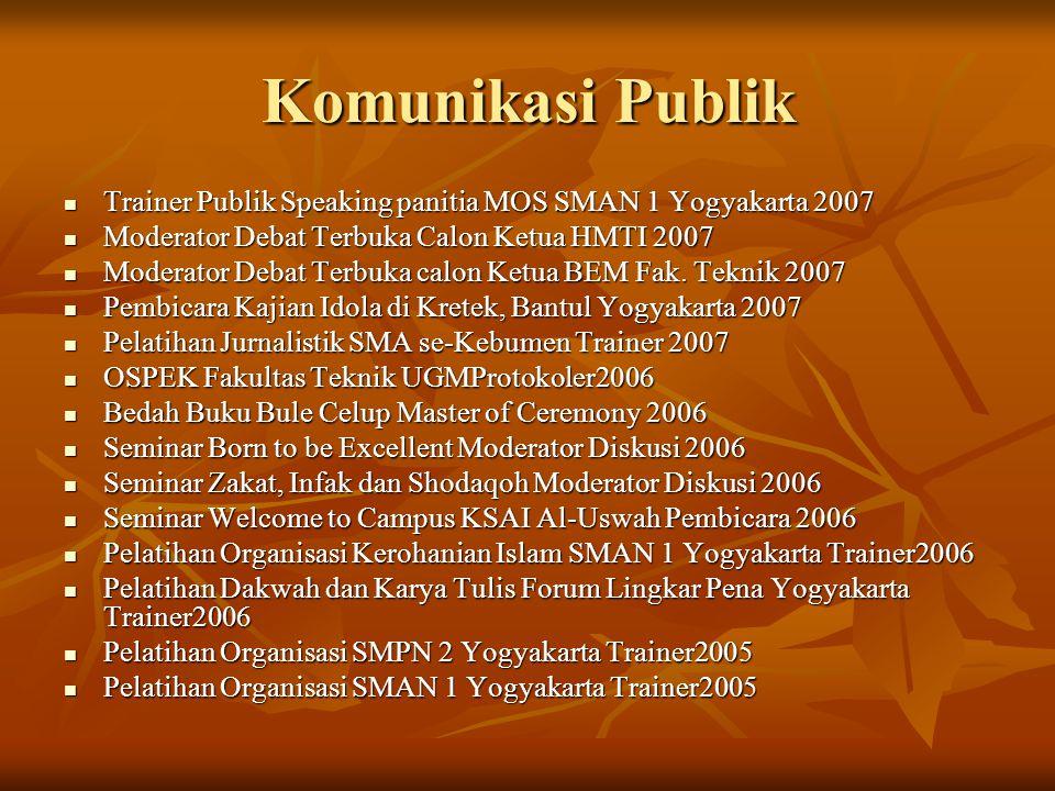 Komunikasi Publik Trainer Publik Speaking panitia MOS SMAN 1 Yogyakarta 2007. Moderator Debat Terbuka Calon Ketua HMTI 2007.