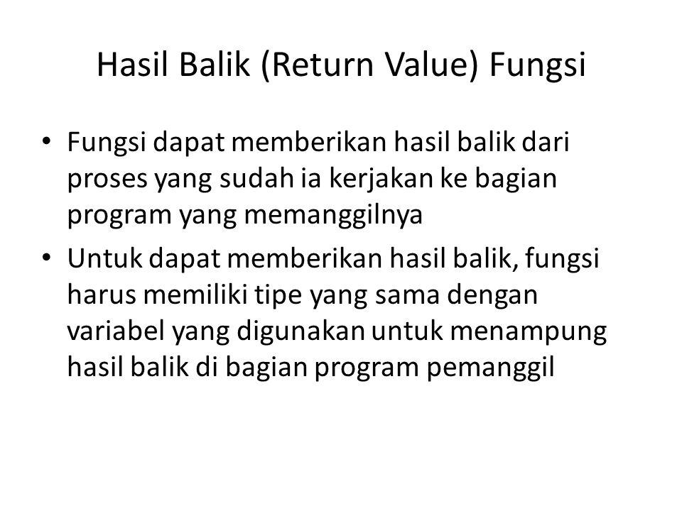 Hasil Balik (Return Value) Fungsi