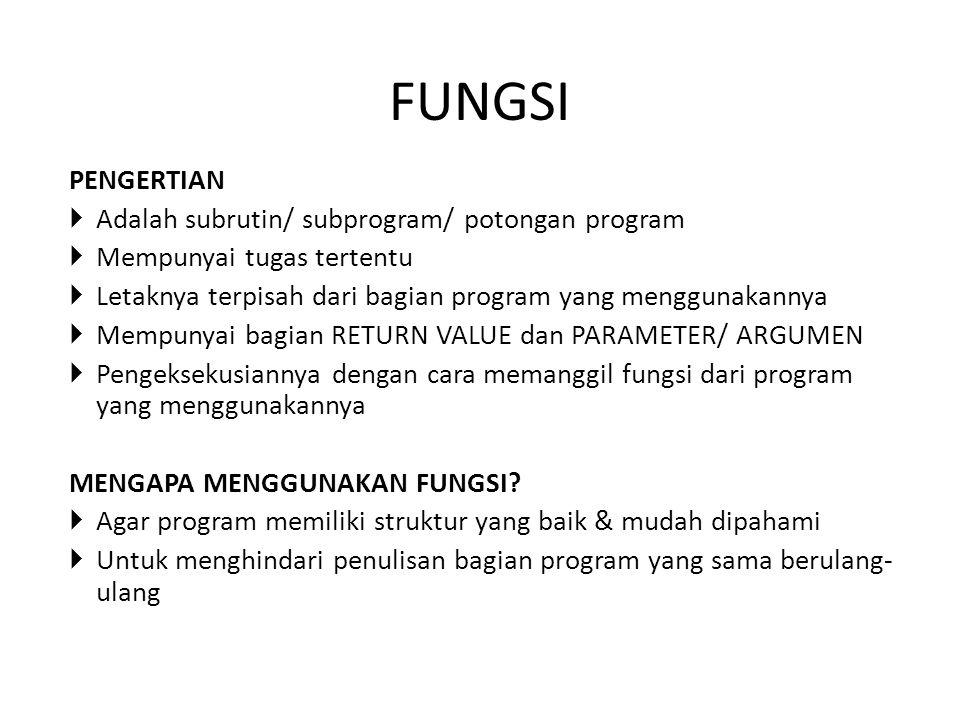 FUNGSI PENGERTIAN Adalah subrutin/ subprogram/ potongan program