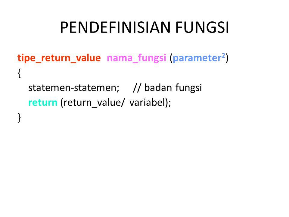PENDEFINISIAN FUNGSI tipe_return_value nama_fungsi (parameter2) {
