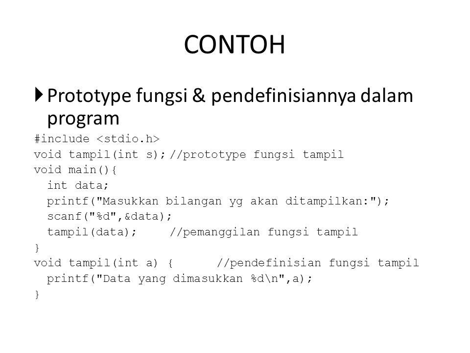 CONTOH Prototype fungsi & pendefinisiannya dalam program