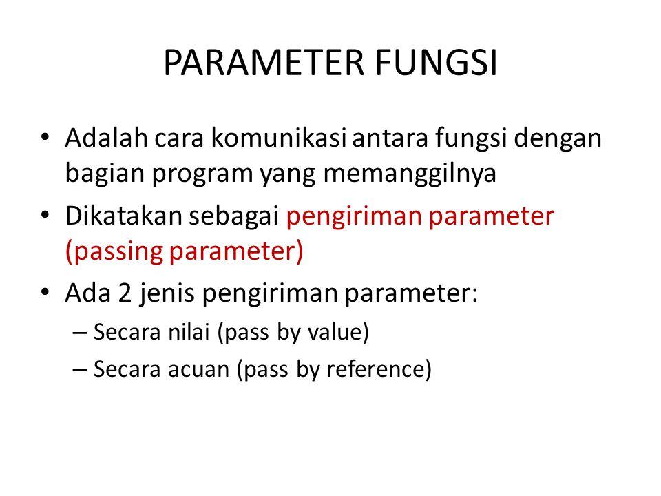 PARAMETER FUNGSI Adalah cara komunikasi antara fungsi dengan bagian program yang memanggilnya.
