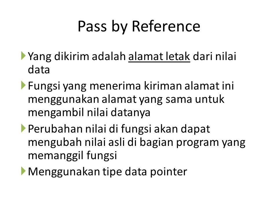 Pass by Reference Yang dikirim adalah alamat letak dari nilai data