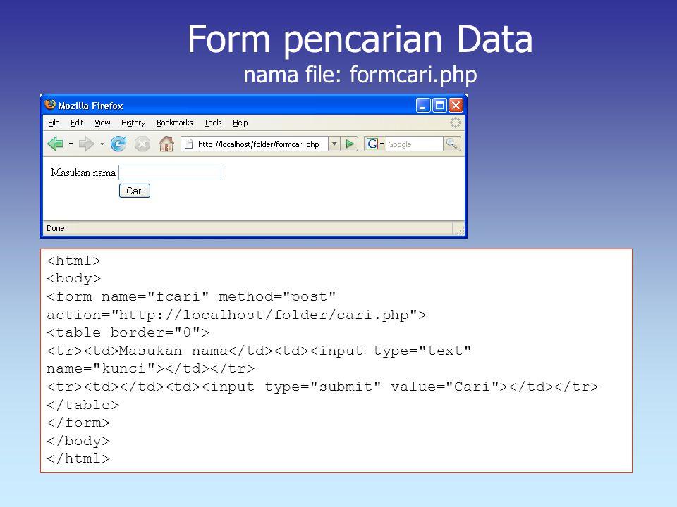 Form pencarian Data nama file: formcari.php